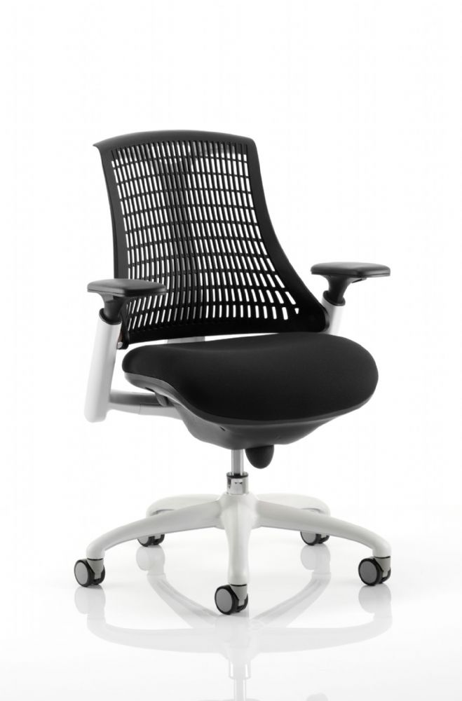 Flex Large Cushioned Seat Task Chair White Frame Black Fabric Seat Various Colour Backrests Adj Arms